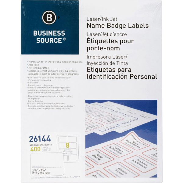 Business Source Self-Adhesive Name Tags