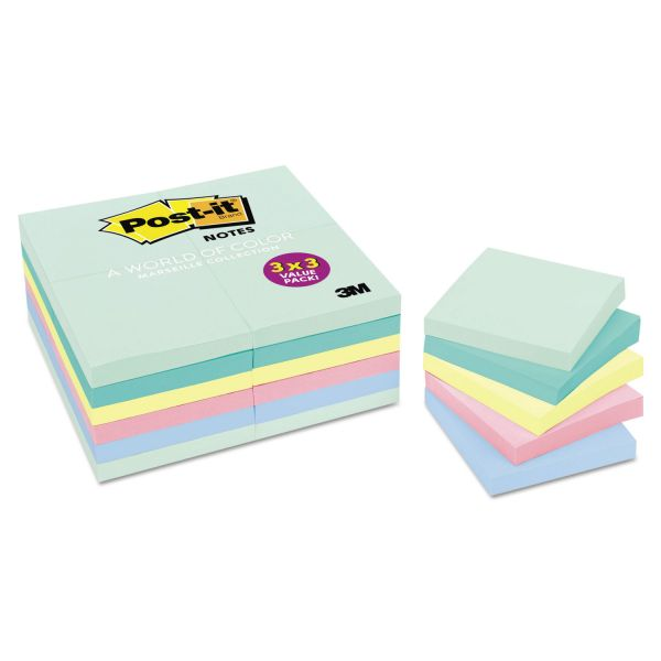 Post-it Notes Original Pads in Marseille Colors, Value Pack, 3 x 3, 100-Sheet, 24/Pack