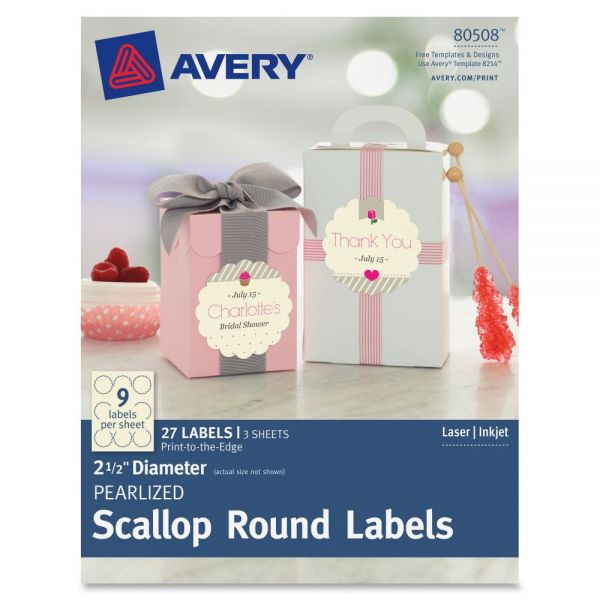 Avery Pearlized Ivory Print-to-the-Edge Scallop Round Labels