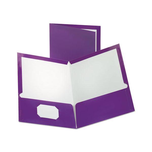 Oxford Two-Pocket Laminated Folder, 100-Sheet Capacity, Metallic Purple