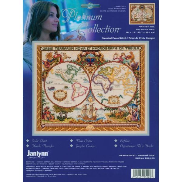 Janlynn Platinum Collection Olde World Map Counted Cross Stitch Kit
