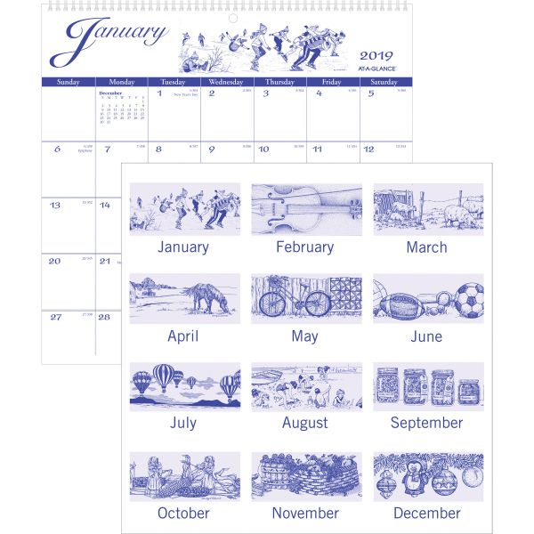 AT-A-GLANCE 12-Month Illustrator's Edition Wall Calendar, 12 x 11 3/4, Illustrations, 2019