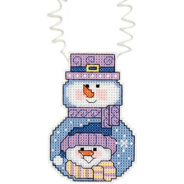 Holiday Wizzers Snowman With Scarf Counted Cross Stitch Kit