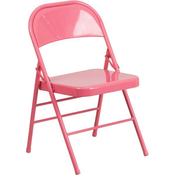 Flash Furniture HERCULES COLORBURST Series Bubblegum Pink Triple Braced & Double Hinged Metal Folding Chair