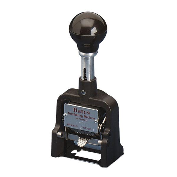 Bates Multiple Movement Numbering Machine, Seven Wheels, Re-Inkable, Size E, Black