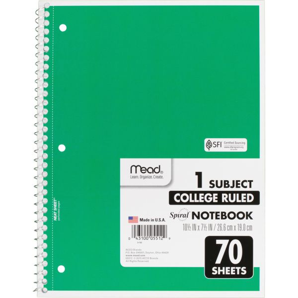 Mead 1-Subject Wirebound Notebook