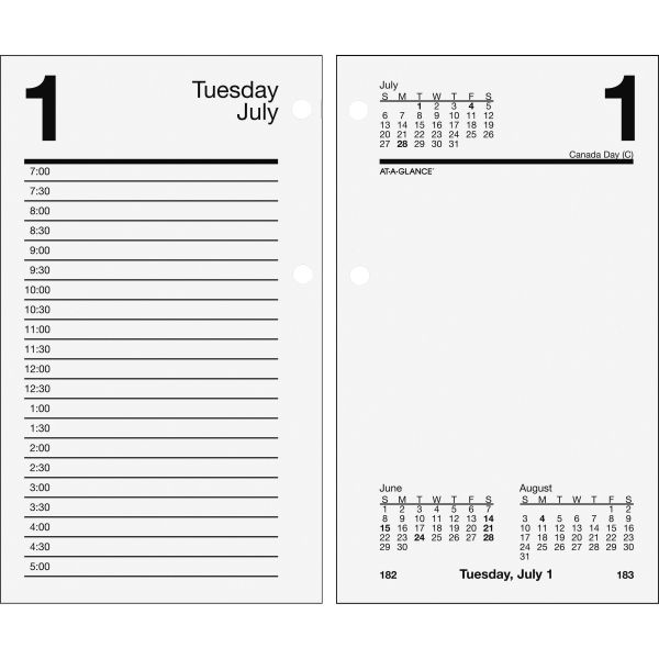 At-A-Glance Loose-leaf Daily Desk Calendar Refill