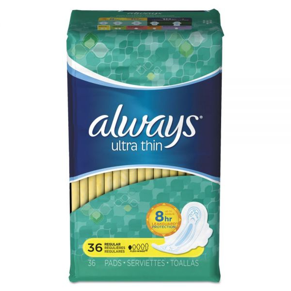 Always Ultra Thin Pads, Regular, 36/Pack