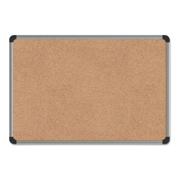 Universal Cork Board with Aluminum Frame, 24 x 18, Natural, Silver Frame