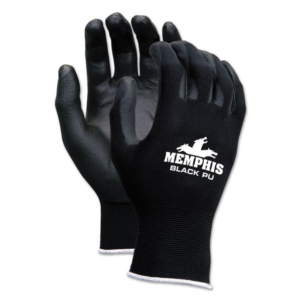 MCR Safety Economy PU Coated Work Gloves, Black, Small, 1 Dozen