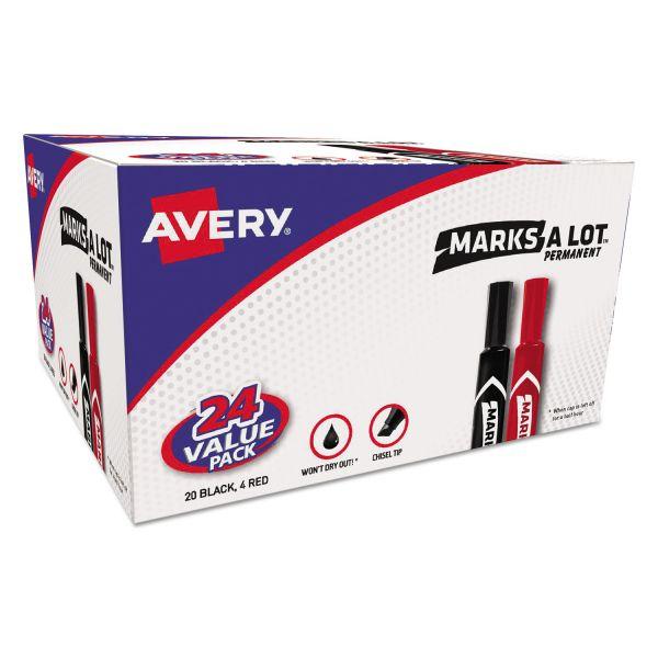 Avery MARK A LOT Regular Desk-Style Permanent Marker, Chisel Tip, Black, 24/Pack