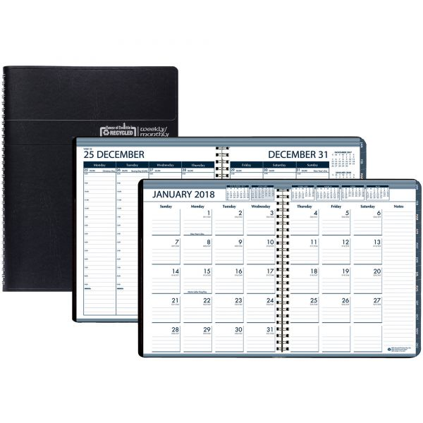 House of Doolittle Recycled Wirebound Weekly/Monthly Planner, 8 1/2 x 11, Black Leatherette, 2018