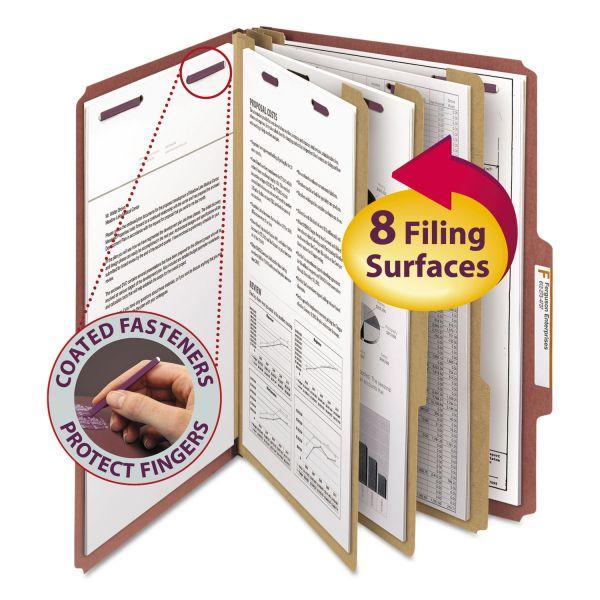Smead Pressboard Classification Folders, Self Tab, Legal, Eight-Section, Red, 10/Box