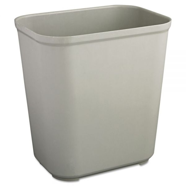 Rubbermaid Commercial Fire-Resistant Wastebasket, Rectangular, Fiberglass, 7gal, Gray