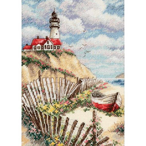 Gold Petite Cliffside Beacon Counted Cross Stitch Kit