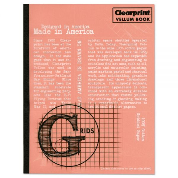 Clearprint Design Vellum Field Book, Grids, 11 x 8 1/2, Clear, 50 Sheets