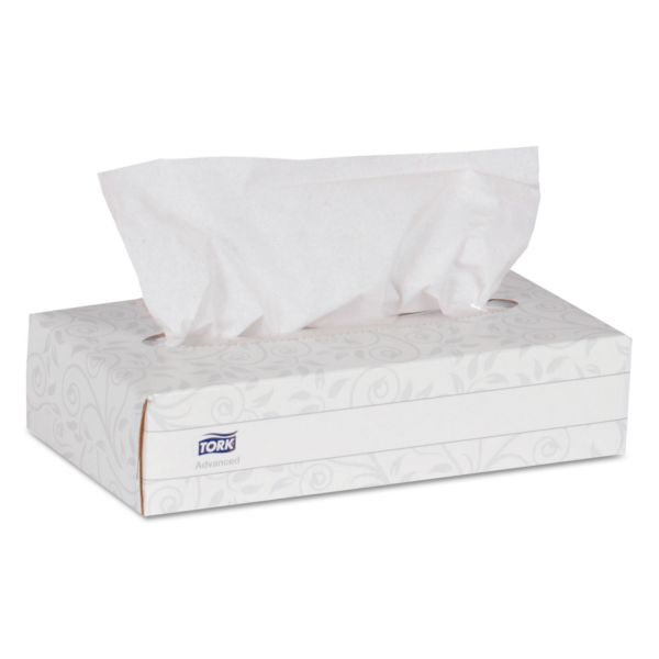 Tork Advanced Extra Soft, 2-Ply Facial Tissue, White, 100/Box, 30 Boxes/Carton