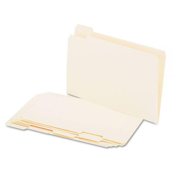 Universal File Folders, 1/5 Cut Assorted, One-Ply Top Tab, Legal, Manila, 100/Box