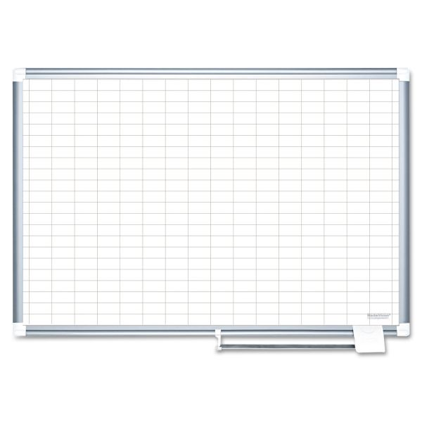 MasterVision MasterVision Grid Planning Board, 72x48, White/Silver
