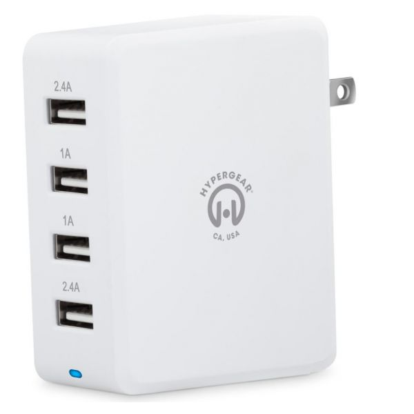 HyperGear Quad USB 6.8A Travel Charger White