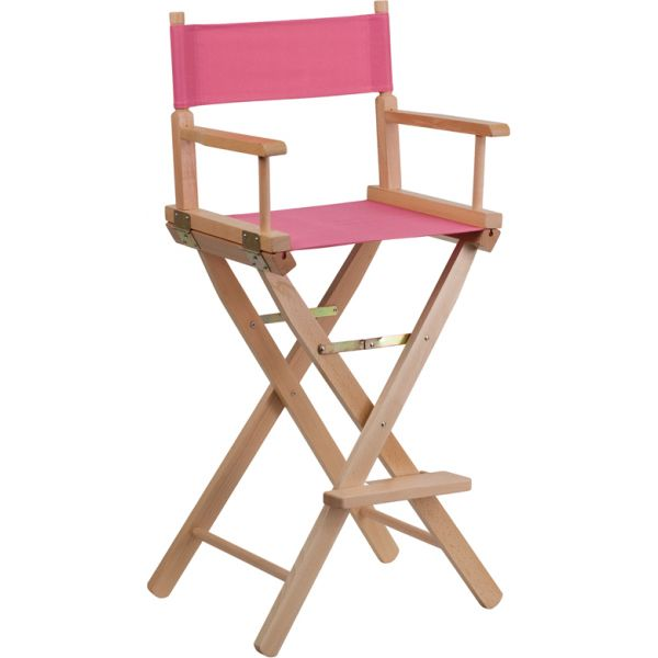 Flash Furniture Bar Height Directors Chair in Pink
