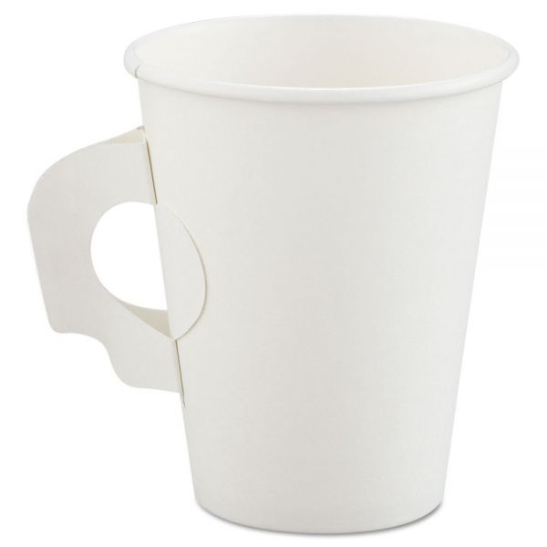 Dart Polycoated Hot Paper Cups with Handles, 8 oz, White