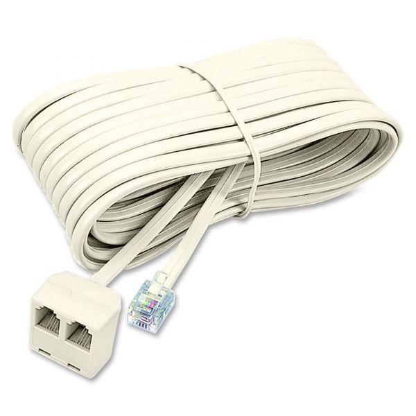 Softalk Modular Telephone Extension Cord, Plug/Dual Jack, 25ft, Almond