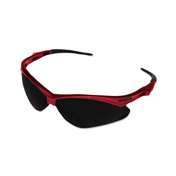 Jackson Safety* Nemesis Safety Glasses, Red Frame, Smoke Lens