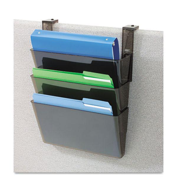 deflecto DocuPocket Three-Pocket File Set for Partition Walls, Letter, 13 x 7 x 4, Smoke