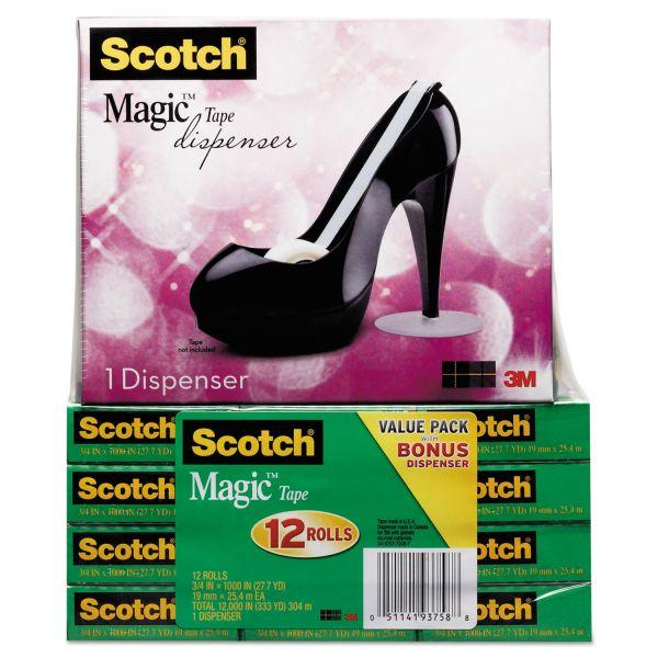 "Scotch Magic Tape Designer Dispenser Value Pack, High-Heel Shoe, 3/4""x1000"", 12 Roll/PK"