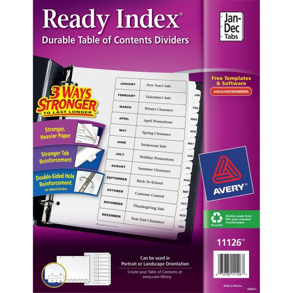 Avery Ready Index 12-Tab Monthly Dividers With Table Of Contents Page