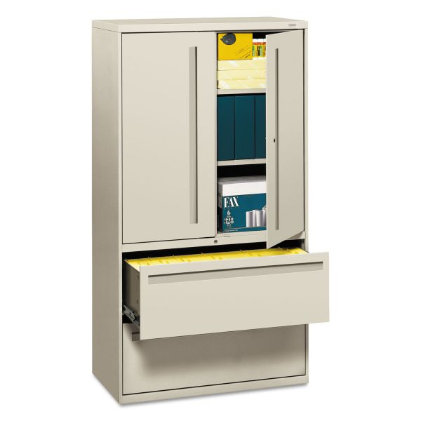 HON 700 Series Lateral File w/Storage Cabinet, 36w x 19-1/4d, Light Gray