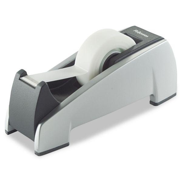"""Fellowes Office Suites Desktop Tape Dispenser, 1"""" Core, Plastic, Heavy Base, Black/Silver"""