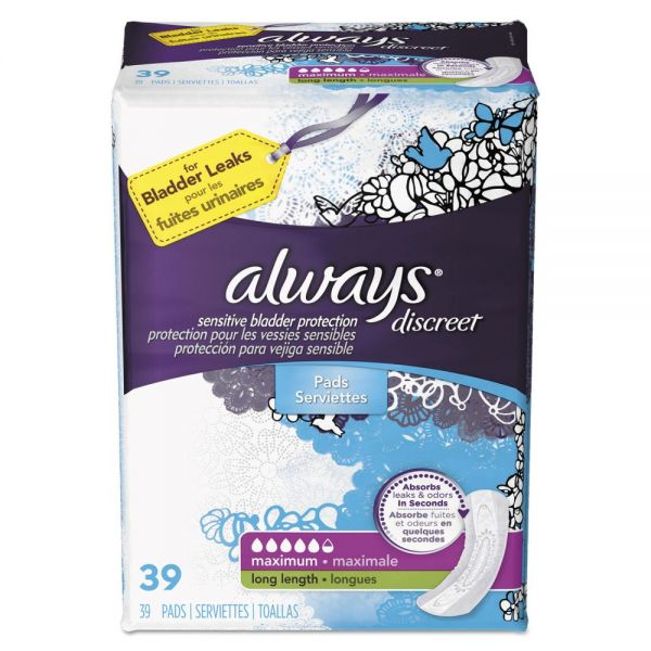 Always Discreet Sensitive Bladder Protection Pads, Maximum, Long, 39/Pk