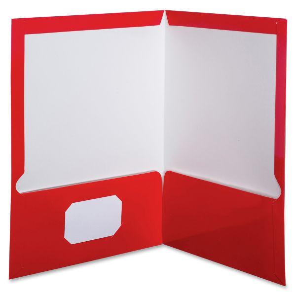 Oxford High Gloss Laminated Paperboard Folder, 100-Sheet Capacity, Red, 25/Box