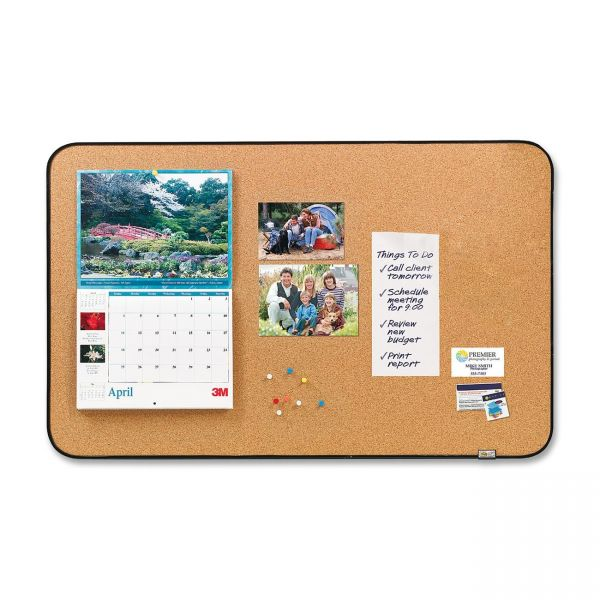 """Post-it Sticky Cork Board, 22"""" x 36"""", Black and Gray, Includes Command Fasteners"""
