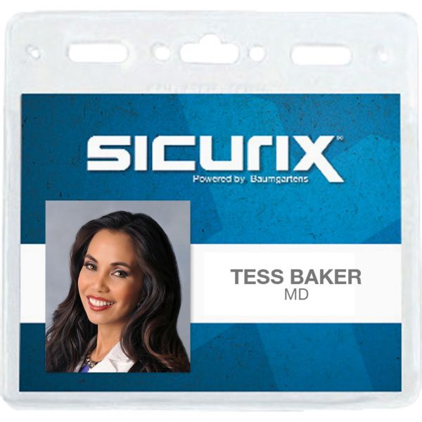 SICURIX Sicurix Vinyl Badge Holder, 4 x 3, Clear, 50/Pack