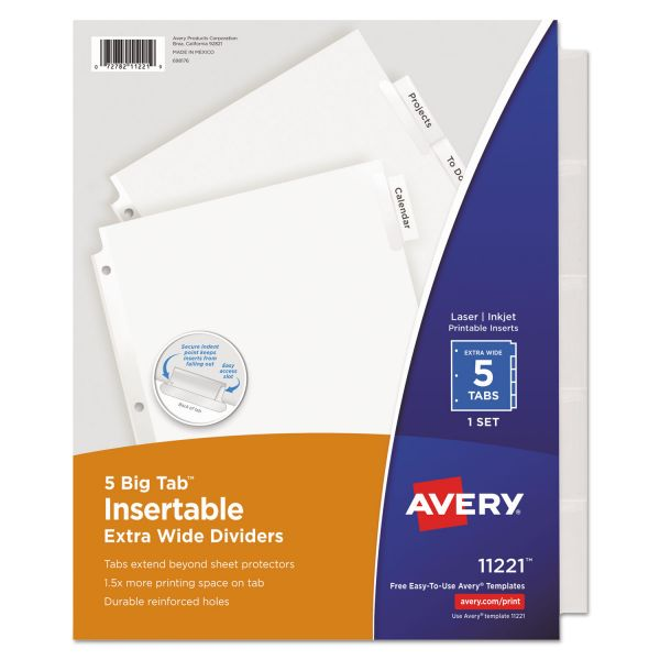 Avery Insertable Big Tab Dividers, 5-Tab, Clear Tab, Letter, 1 Set
