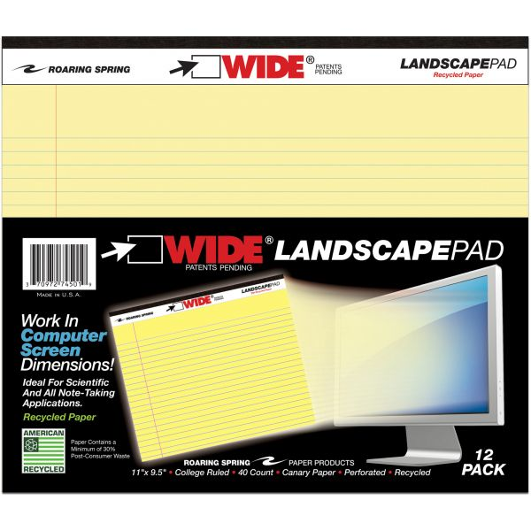 Roaring Spring WIDE Landscape Legal Pad