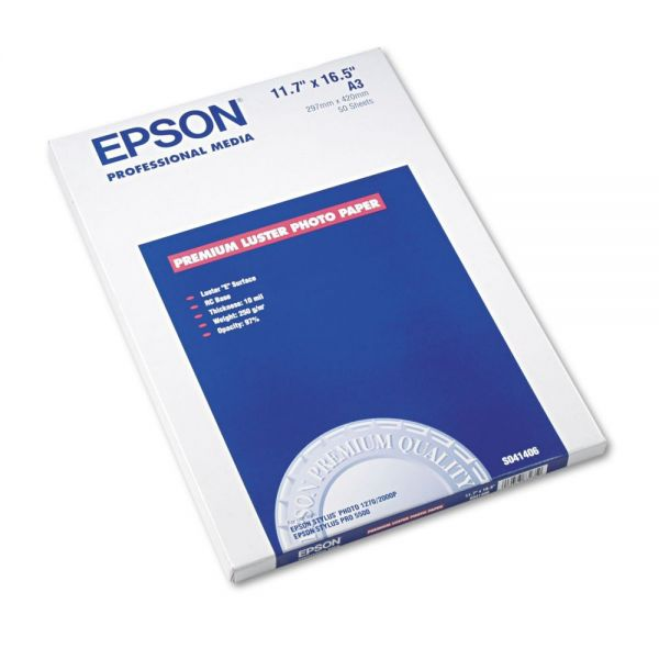 Epson Ultra Premium Photo Paper, 64 lbs., Luster, 11-3/4 x 16-1/2, 50 Sheets/Pack