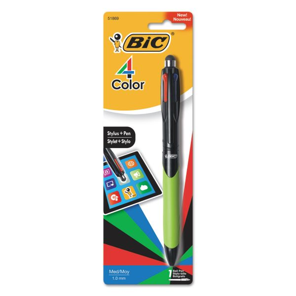 BIC 4-Color Stylus Ball Pen, Assorted