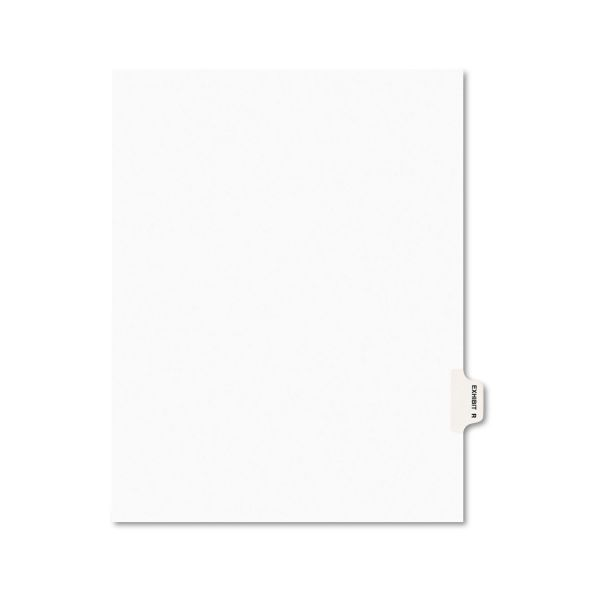 Avery Avery-Style Preprinted Legal Side Tab Divider, Exhibit R, Letter, White, 25/Pack