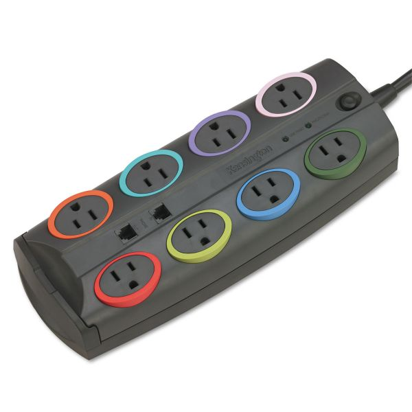 Kensington SmartSockets Color-Coded Surge Protector, 8 Outlets, 8 ft Cord, 3090 Joules