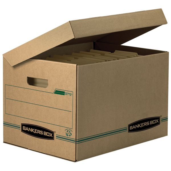 Bankers Box Recycled Systematic Basic-Duty Storage Boxes With Flip-Top Lids