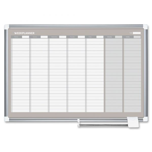 "MasterVision MasterVision Grid Planning Board, 1x2"" Grid, 24x36, White/Silver"
