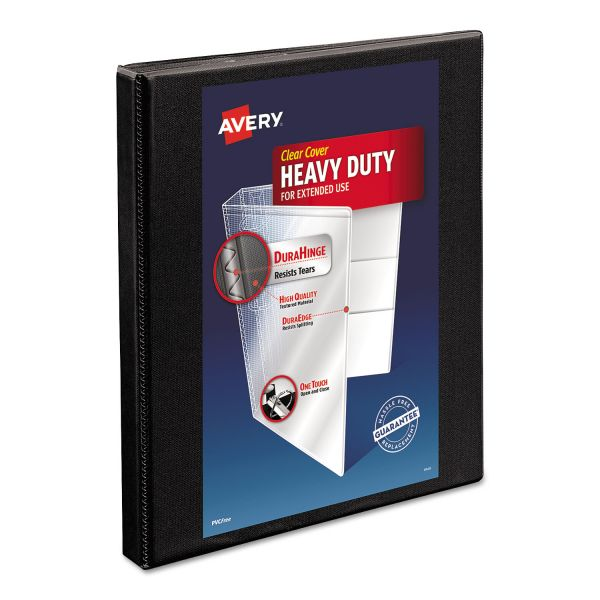 "Avery Heavy-Duty Non Stick 3-Ring View Binder, 1/2"" Capacity, Slant Ring, Black"