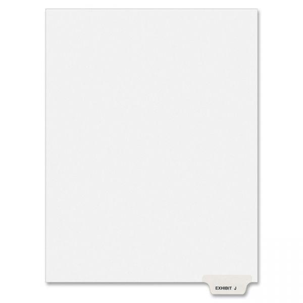 Avery-Style Preprinted Legal Bottom Tab Divider, Exhibit J, Letter, White, 25/PK
