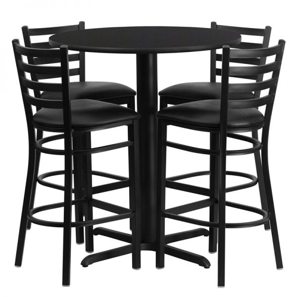 Flash Furniture 30'' Round Black Laminate Table Set with 4 Ladder Back Metal Bar Stools - Black Vinyl Seat [HDBF1021-GG]