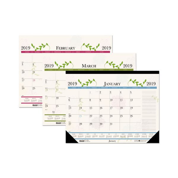 House of Doolittle Recycled Floral Desk Pad Calendar, 18 1/2 x 13, 2019