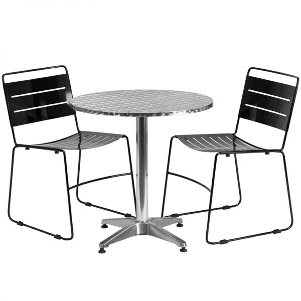 Flash Furniture 27.5'' Round Aluminum Indoor-Outdoor Table with 2 Black Metal Stack Chairs